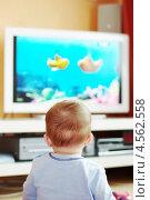 Купить «Малыш (7 месяцев) смотрит мультфильмы по телевизору», эксклюзивное фото № 4562558, снято 26 апреля 2013 г. (c) ivolodina / Фотобанк Лори