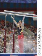 Купить «Lucas Fischer, Швейцария выполнил упражнения на брусьях на Чемпионате Европы по спортивной гимнастике», фото № 4566082, снято 21 апреля 2013 г. (c) Stockphoto / Фотобанк Лори
