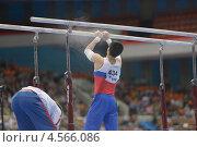 Купить «Эмин Гарибов готовится выполнить упражнения на брусьях на Чемпионате Европы по спортивной гимнастике», фото № 4566086, снято 21 апреля 2013 г. (c) Stockphoto / Фотобанк Лори
