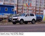 Купить «ВАЗ - 2121. Нива 4х4 мчится по дороге», фото № 4570562, снято 26 апреля 2013 г. (c) Павел Кричевцов / Фотобанк Лори