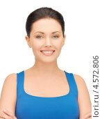 Купить «Красивая брюнетка в синем топе на белом фоне», фото № 4572806, снято 7 апреля 2012 г. (c) Syda Productions / Фотобанк Лори