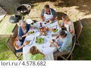 Купить «Дружная семья обедает на природе», фото № 4578682, снято 6 ноября 2010 г. (c) Wavebreak Media / Фотобанк Лори