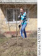 Девочка граблями собирает траву. Субботник. Стоковое фото, фотограф Диана Линевская / Фотобанк Лори