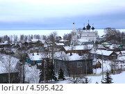 Вид на Белозерск и Белое озеро зимой. Стоковое фото, фотограф Мельников Евгений / Фотобанк Лори