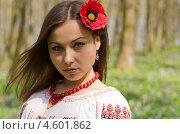 Девушка с цветком мака в прическе. Стоковое фото, фотограф Mykhaylo Mykulyak / Фотобанк Лори