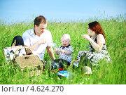 Купить «Молодая семья с маленьким ребенком на пикнике», фото № 4624270, снято 30 июня 2009 г. (c) Иван Михайлов / Фотобанк Лори