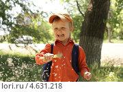Купить «Улыбающийся маленький мальчик машет одуванчиками», фото № 4631218, снято 9 мая 2013 г. (c) Харитонов Сергей / Фотобанк Лори