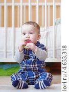 Купить «Малыш с игрушкой-прорезывателем для зубов (8 месяцев)», фото № 4633318, снято 16 мая 2013 г. (c) ivolodina / Фотобанк Лори