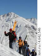 Купить «Группа горнолыжников поднимается по склону», фото № 4642546, снято 1 февраля 2008 г. (c) Виктор Затолокин/Victor Zatolokin / Фотобанк Лори