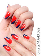 Купить «Женские руки с декоративными маникюром. Сине-красные ногти», фото № 4643082, снято 11 апреля 2013 г. (c) Elnur / Фотобанк Лори
