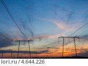 ЛЭП на закате, на фоне синего неба. Стоковое фото, фотограф Алексей Попов / Фотобанк Лори