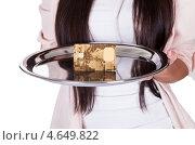 Купить «Женщина держит на подносе золотую банковскую карту», фото № 4649822, снято 30 сентября 2012 г. (c) Андрей Попов / Фотобанк Лори