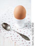Купить «Яйцо в подставке для яиц и ложка», фото № 4665950, снято 18 марта 2013 г. (c) Darkbird77 / Фотобанк Лори