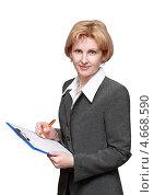 Женщина в деловом костюме с листом бумаги на планшете на белом фоне. Стоковое фото, фотограф Феликс Кучмакра / Фотобанк Лори