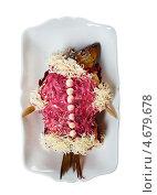 Купить «Селедка под шубой. Традиционное русское застольное блюдо.», фото № 4679678, снято 7 мая 2013 г. (c) Александр Fanfo / Фотобанк Лори