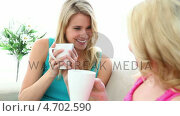 Купить «Two blonde friends drinking a coffee together», видеоролик № 4702590, снято 18 июня 2019 г. (c) Wavebreak Media / Фотобанк Лори