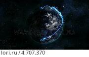 Купить «Shaded Earth with blue connection in movement with grid and moving clouds with Earth image courtesy », видеоролик № 4707370, снято 20 июля 2019 г. (c) Wavebreak Media / Фотобанк Лори