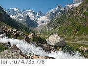 Кавказ, Далар, заснеженные горы, Приэльбрусье. Стоковое фото, фотограф Дмитрий Лифанов / Фотобанк Лори
