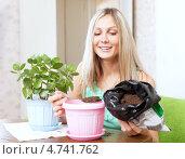 Молодая женщина пересаживает комнатный цветок каланхоэ. Стоковое фото, фотограф Яков Филимонов / Фотобанк Лори