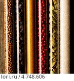 Купить «Набор различных специй в стеклянных мензурках, крупный план», фото № 4748606, снято 7 мая 2013 г. (c) Николай Охитин / Фотобанк Лори