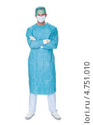 Купить «Молодой хирург в стерильном облачении и маске перед операцией», фото № 4751010, снято 27 октября 2012 г. (c) Андрей Попов / Фотобанк Лори