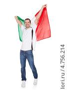 Купить «Радостный болельщик с итальянским флагом», фото № 4756214, снято 18 ноября 2012 г. (c) Андрей Попов / Фотобанк Лори