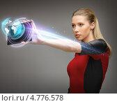 Купить «Молодая женщина из будущего с цифровым гаджетом следующего поколения», фото № 4776578, снято 17 ноября 2012 г. (c) Syda Productions / Фотобанк Лори