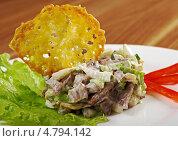 Купить «Салат с говяжьим языком и картофельная оладья», фото № 4794142, снято 18 июня 2013 г. (c) Александр Fanfo / Фотобанк Лори