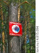 Купить «Предупреждающий щит при входе в лес - Осторожно в лесу клещи», эксклюзивное фото № 4815094, снято 29 июня 2013 г. (c) Евгений Мухортов / Фотобанк Лори