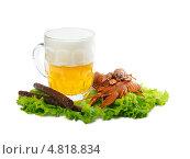 Пиво с раками и колбасками. Стоковое фото, фотограф Alexandr Banshikov / Фотобанк Лори