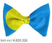 Купить «Флаг Палау, изображенный на галстуке-бабочке», фото № 4820326, снято 18 февраля 2020 г. (c) Клинц Алексей / Фотобанк Лори