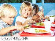 Купить «Дети обедают в столовой детского сада», фото № 4823246, снято 28 октября 2012 г. (c) Monkey Business Images / Фотобанк Лори