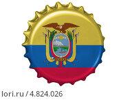 Купить «Металлическая пробка с флагом Эквадора», иллюстрация № 4824026 (c) Клинц Алексей / Фотобанк Лори
