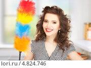 Купить «Счастливая домохозяйка с метелкой для уборки пыли», фото № 4824746, снято 3 января 2010 г. (c) Syda Productions / Фотобанк Лори