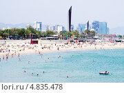 Купить «Пляж Nova Icaria в Барселоне, Испания», фото № 4835478, снято 28 июня 2013 г. (c) Яков Филимонов / Фотобанк Лори