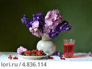 Натюрморт с букетом цветов и смородиной. Стоковое фото, фотограф Julia Ovchinnikova / Фотобанк Лори