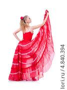 Купить «Танцовщица в длинном красном платье на белом фоне», фото № 4840394, снято 2 марта 2013 г. (c) Elnur / Фотобанк Лори