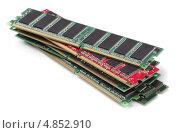 Купить «Модули оперативной памяти на белом фоне», фото № 4852910, снято 7 июня 2013 г. (c) Антон Стариков / Фотобанк Лори
