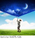 Купить «Бизнес-леди тянет вниз за веревку плакат с ночным небом и луной. Концепция дня и ночи», фото № 4875126, снято 13 июля 2020 г. (c) Sergey Nivens / Фотобанк Лори