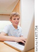 Изображение светлого мальчика, пользующегося ноутбуком. Стоковое фото, агентство Wavebreak Media / Фотобанк Лори