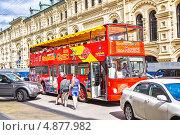Купить «Красный двухэтажный экскурсионный автобус MAN Wagon Union на улице Москвы», фото № 4877982, снято 19 июля 2013 г. (c) Владимир Сергеев / Фотобанк Лори