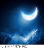 Купить «Красивый фон с ночным небом и луной», фото № 4879962, снято 20 января 2019 г. (c) Sergey Nivens / Фотобанк Лори