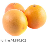 Купить «Три Жёлто-розовых грейпфрута, изолированно на белом фоне», фото № 4890902, снято 27 июня 2013 г. (c) Литвяк Игорь / Фотобанк Лори