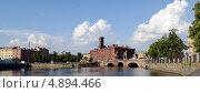 Старо-Калининский мост в Санкт-Петербурге. Стоковое фото, фотограф Марина Разгулина / Фотобанк Лори
