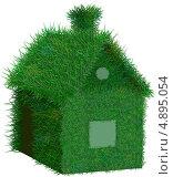 Дом из зелёной травы, изолированно на белом фоне. Стоковая иллюстрация, иллюстратор Александр Лукьянов / Фотобанк Лори