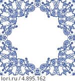 Рамка из синего растительного орнамента. Стоковая иллюстрация, иллюстратор Александр Лукьянов / Фотобанк Лори