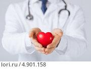 Купить «Молодой врач с красным пластиковым сердцем», фото № 4901158, снято 10 апреля 2013 г. (c) Syda Productions / Фотобанк Лори