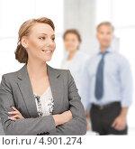 Купить «Успешная деловая женщина на фоне коллег в офисе», фото № 4901274, снято 22 февраля 2019 г. (c) Syda Productions / Фотобанк Лори