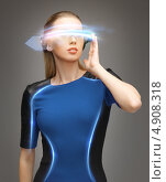 Купить «Девушка в светящихся очках будущего», фото № 4908318, снято 17 ноября 2012 г. (c) Syda Productions / Фотобанк Лори