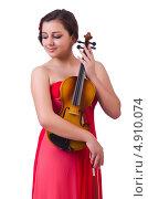 Купить «Девушка со скрипкой на белом фоне», фото № 4910074, снято 10 мая 2013 г. (c) Elnur / Фотобанк Лори